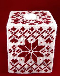 PATTERN: Nordic Redwork Tissue Box Cover in Plastic Canvas Plastic Canvas Stitches, Plastic Canvas Tissue Boxes, Plastic Canvas Crafts, Free Plastic Canvas Patterns, Plastic Canvas Letters, Cross Stitch Embroidery, Cross Stitch Patterns, Plastic Mesh, Plastic Canvas Christmas