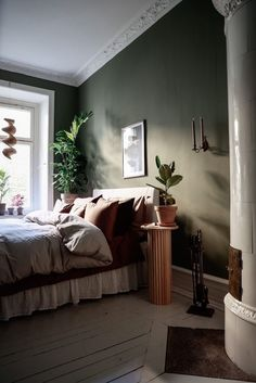 my scandinavian home: The Incredible Earthy Green Home of a Swedish Interior Designer Swedish Interiors, Summer Surf, Nighty Night, Interior Decorating, Interior Design, Interior Paint Colors, Earthy, Beautiful Homes, Master Bedroom
