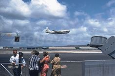 Crowd watching the take off  of Pan American Stratocruiser N1022V from Honolulu airport in 1954