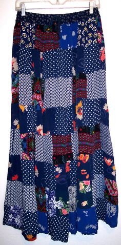 Jackpot Hippy Skirt M L Blue Patchwork Polka Dot Floral Aztec Boho Gypsy Peasant #Jackpot #PeasantBoho