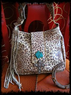 Leather Cheetah Print Small Tote with Turquoise by LivingFreeByEP, $65.00