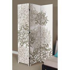 Bota Stretched Canvas Triple Panel Floor Screen, Chrysanthemum