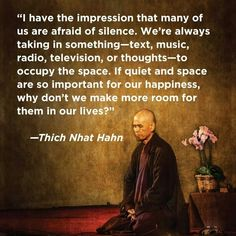"""I have the impression that many of us are afraid of silence. We're always taking in something - text, music, radio, television, or thoughts - to occupy the space. If quiet and space are so important for our happiness, why don't we make more room for them in our lives?"" Thich Nhat Hanh More"