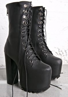 Current Mood Nola Boots - I Want it Black  #goth #gothboots #platformboots