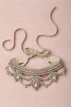 Queen Consort Collar. Handmade by Bonnie Strauss to go with a wedding dress.  I'd love to see how this was made.  http://www.bhldn.com/product/queen-consort-collar
