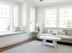 Love the soft colors is this room! #PorchLovesWindowSeats
