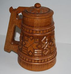 """LATVIAN DESIGN HAND CARVED BEER STEIN / ALUS KAUSS OAK with 4 copper strands -8"""" high / 5"""" at base a most beautiful and interesting example of carving by world famous woodsmith V. Gredzens of Minneapolis, MN