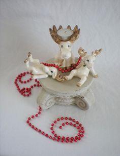 Vintage 1976 Fitz and Floyd Christmas MOOSE Figurine / Tealight Holder Trio