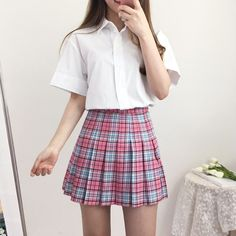 School Uniform Outfits, Cute School Uniforms, School Girl Outfit, Girl Outfits, Uniform Ideas, Fashion Outfits, 90s Inspired Outfits, Looks Kawaii, Korean Aesthetic