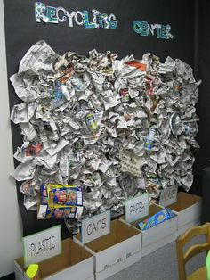 Recycling Center searching for recycling and sight words ~ Kindergarten Rocks Blog