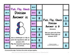 FREEBIES - Fold to make card then children clip the facts with the give answer. Flip over to check! Multiples and Division Cards.