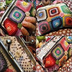 Manitas de Calabacina: Monedero multicolor Crochet Change Purse, Love Crochet, Bead Crochet, Crochet Motif, Crochet Baby, Crochet Patterns, Crochet Wallet, Crochet Coin Purse, Crochet Purses