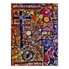 Colorful Circles Mosaic Southwestern Cross Design Print