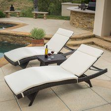 Ardoin 3 Piece Chaise Lounge Set with Cushion