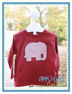 Elephant Silhouette Applique Design