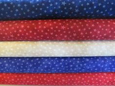 Red Tan Blue Star Fat Quarter Fabric Bundle by QuiltsFabricandmore