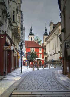A beautiful street in Prague, Czech Republic.