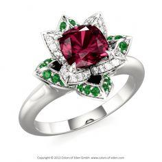 Lotus Engagement Ring #Diamond #Emerald
