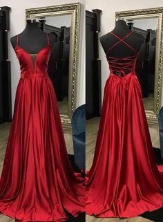 A-line Long Prom Dress with Lace up Back, Popular Evening Dress ,Fashi – PromDressForGirl