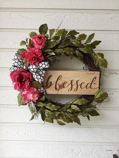BLESSED floral wreath https://www.etsy.com/listing/596747819/blessed-grapevine-wreath-spring-wreath