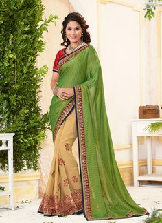 http://www.sareesaga.in/index.php?route=product/product&product_id=20789 Style	:	Half N Half Saree	Shipping Time	:	10 to 12 Days Occasion	:	Festival Reception	Fabric	:	Jacquard Georgette Colour	:	Green Cream	 Work	:	Embroidered Resham Work Lace For Inquiry Or Any Query Related To Product, Contact :- +91-9825192886, +91-7405449283