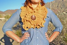 Mustard Neck Warmer/Cowl with ruffle trim and a crochet flower button