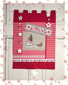 #acufactum #sticken #naehen #sew #crossstitch #kreuzstich #embroider #weihnachten #winter #christmas #book #buch #Wandbehang #Advent #baender #bands #rot #red #Stoff #cloth