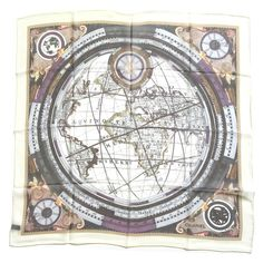 "Chanel Globe 34"" SQ. 100% Silk chiffon Ivory Scarf New without tag.    Exceptional gorgeous Zodiac Globe map with Chanel CC and headquarter address all over continent as part of destiny of the world in multicolored with an Ivory border, an exceptional design that will be a classic.34"" x 34"" 100% Sheer Silk Chiffon Gauze Made in Italy CHANEL Accessories Scarves & Wraps"