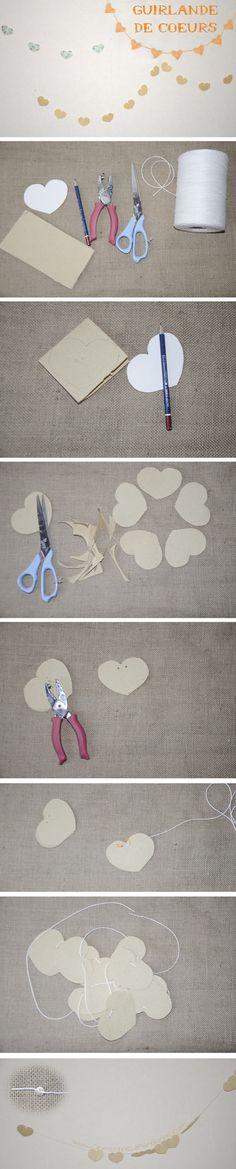 [DIY] Guirlande de coeurs en papier, sympa pour une déco d'anniversaire