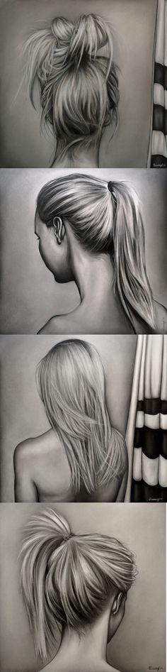 Desenhos realistas - mulheres, cabelos e penteados - grafite #AmazingPencilDrawings #RealisticDrawings