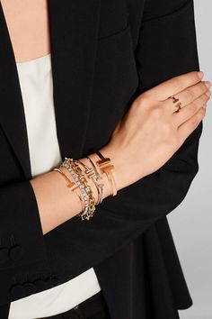 Tiffany & Co T Wire Narrow rose gold bracelet Stackable Bracelets, Diamond Bracelets, Ankle Bracelets, Sterling Silver Bracelets, Jewelry Bracelets, Bangles, Gold Jewelry, Silver Rings, Jewelry Ads