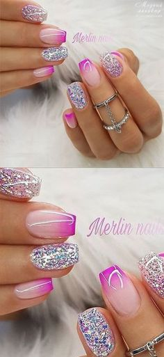 Best Gel Glitter Nail Designs to Copy in 2019 : Best Gel Glitter Nail Designs to Copy in 2019 summernails nailsart nailsdesign nailartdiy nailartgallery nailartideas fakenails nailfashion nudenails valentinesday valentinenails valentinecrafts gli Sparkly Nails, Purple Nails, Fancy Nails, Glitter Nails, Trendy Nail Art, Stylish Nails, Hot Nails, Hair And Nails, Nail Deco