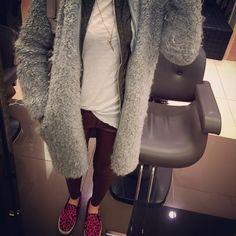 #데일리룩 인데 #어제 #입은 #옷 #daily #look #jefferycambell #shoe #alexanderwang #bag #zara #leather #pants with #grey #coat #loveit_dailylook #패피녀 #koreanfashion