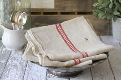 "Antique French Linen Torchon/Towel - Traditional Red Stripe - Monogrammed with a ""B"" - circa 1910's"