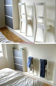 Galán de noche original. Realizado con sillas. #reciclaje #decoración #segundasoportunidades #dormitorios