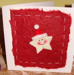 xmas card ripped paper with cute star