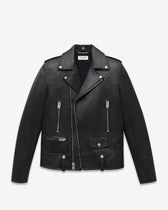 Classic Motorcycle Jacket in Black Leather : Saint Laurent Classic Motorcycle Jacket In Black Leather from Saint Laurent Online Riders Jacket, Moto Jacket, Navy Jacket, Jacket Men, Revival Clothing, Men's Clothing, Custom Clothing, Saint Laurent, Leather Men