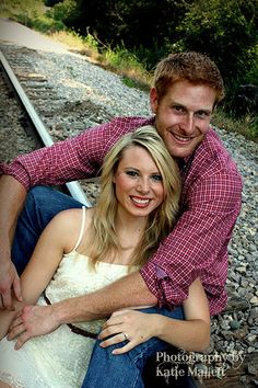 Couple photo at the railroad tracks! Photography by Katie Mallett. Wedding Photographer in Menomonie, WI and Eau Claire, WI | Portraits  http://katiemallett.wix.com/katiesphotography-
