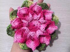 Flor de Crochê Para Aplicação # Flor Jade