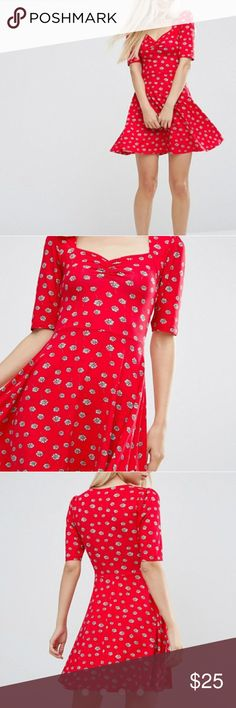 ASOS Sweetheart Skater Dress in Red Daisy Only worn once! Super cute and flattering dress! ASOS Dresses