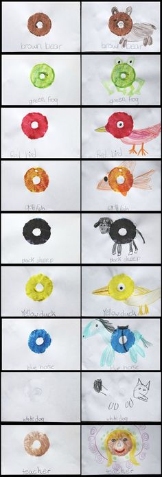 Brown Bear Brown Bear  Inspired DIY Pool Noodle Animal Stamping Book, a great reading activity connection for early readers to make and read. Pool noodle crafts. Pool noodle stamping. Pool noodle reading fun!