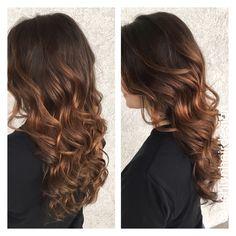 Copper caramel balayage! Long hair! Pretty curls!