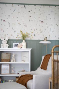 Nursery with green wall paneling and whimsical wallpaper Green Nursery Girl, Baby Room Green, Girl Nursery Decor, Whimsical Nursery, Baby Room Wall Decor, Baby Decor, Boys Room Decor, Bedroom Decor, Cottage Nursery