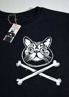 Womens Cat Cross Bones T-Shirt Women's Cat Tee Ladies by BenPrints