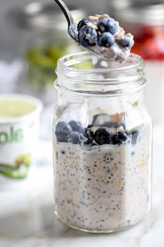 desayunos con avena y yogur super ricos, bontias ideas de desayunos saludables con arándanos y avenas Oatmeal, Clean Eating Oatmeal, Yogurt, Healthy Breakfasts, Cooking Recipes, Rolled Oats, The Oatmeal, Overnight Oatmeal