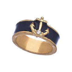 Blu Bijoux Navy Enamel Nautical Ring - Max & Chloe from Max & Chloe. Anchor Jewelry, Nautical Jewelry, Nautical Clothing, Nautical Outfits, Nautical Fashion, Nautical Style, Nautical Anchor, Preppy Style, Max And Chloe