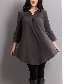 Look at this #zulilyfind! Charcoal Bell-Sleeve Swing Tunic - Plus #zulilyfinds