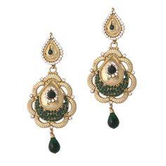 Green Gold Plated Austrian Diamond Earrings