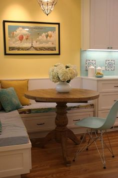 Mediterranean kitchen - aqua and yellow kitchen banquette