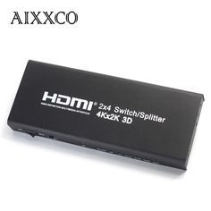 (36.35$)  Buy here  - AIXXCO HDMI 2x4 2 Input 4 Output v1.4 4K HDMI Splitter/Switch Switcher HDMI Port for PS3 PS4 for Xbox 360 PC DV DVD HDTV 1080P
